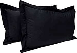 King Pillow Shams Set of 2 Black Pillow Shams King Size 20X40 Pillow Cases -600 Thread Count 100% Soft Egyptian Cotton Hotel Class Stich Cushion Cover Decorative King Size Bed Pillow Covers Set