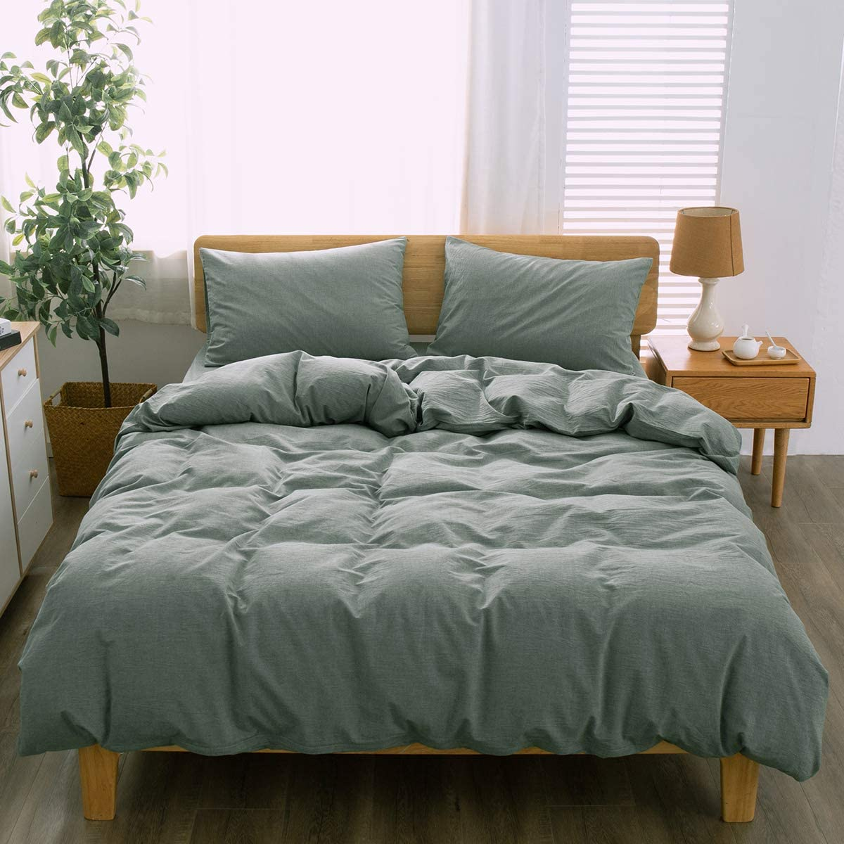 MIAN YI Duvet Cover 3-Piece,100/% Washed Cotton Duvet Cover,Comforter Cover Queen Size,Simple Bedding Style Queen,Dark Gray