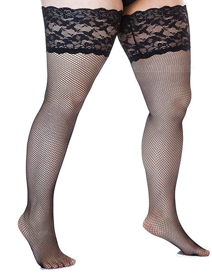 66599f000 Plus Size Lace Stay Up Thigh High Stockings 1xl-5xl (various colours) at  Amazon Women s Clothing store