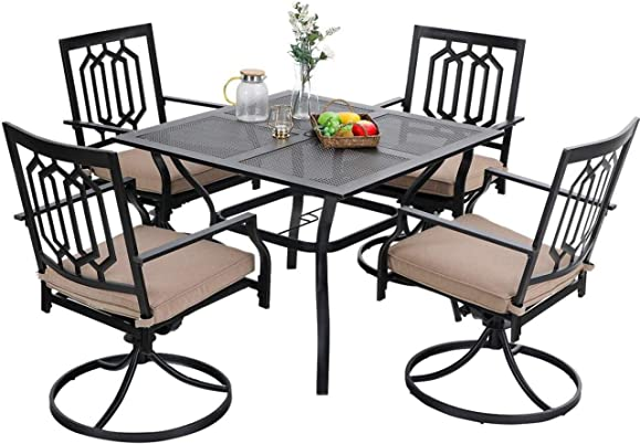PHI VILLA Patio Dining Set 5 Pcs 1 Metal Square Garden Umbrella Table 37″ and 4 Swivel Chairs Support 300 lb