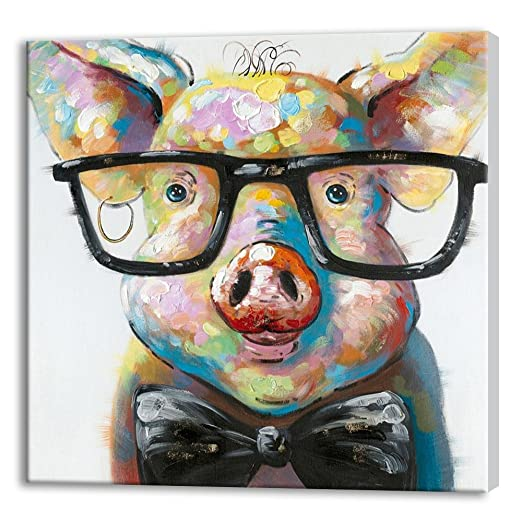 Amazon.com: SEVEN WALL ARTS -100% Hand Painted Oil Painting Animal ...