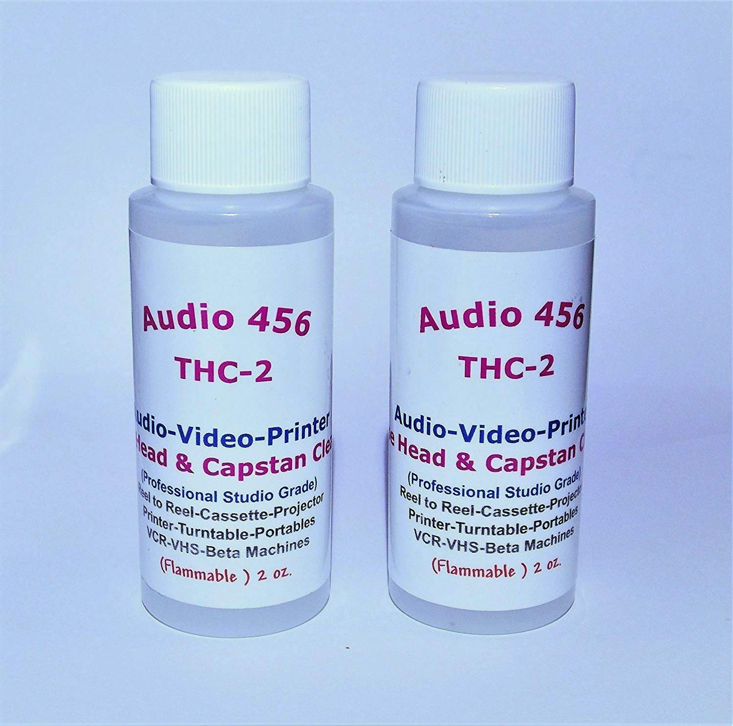 2 Audio 456 THC-2 Audio Video Tape Head & Capstan Cleaners (2 oz each bottle) for Reel to Reel+Cassette+Tape Echo's+Printers+Projector+ Portables+ Handhelds+VCR Beta Machines.(formally SR-Audio)