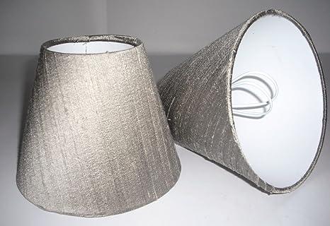 2 Pantalla para lámpara de mesa hecha a mano pequeña - Taupe ...