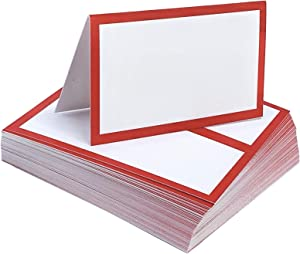 Tented Place Cards - 50 pack - Folded Place Cards are ideal as Wedding Place Cards, Buffet food label, Banquet tables, Cocktail Parties, and Much More! Made of 14 pt. Matte Card Stock.
