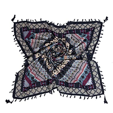 iShine Femme Echarpe Carré avec Impression Foulard en Style Bohême 110    112cm Châle Coloré Légère 4ab73066571