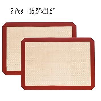 Silicona para hornear galletas bandeja de horno antiadherente Set de 2 – Hojas de la galleta