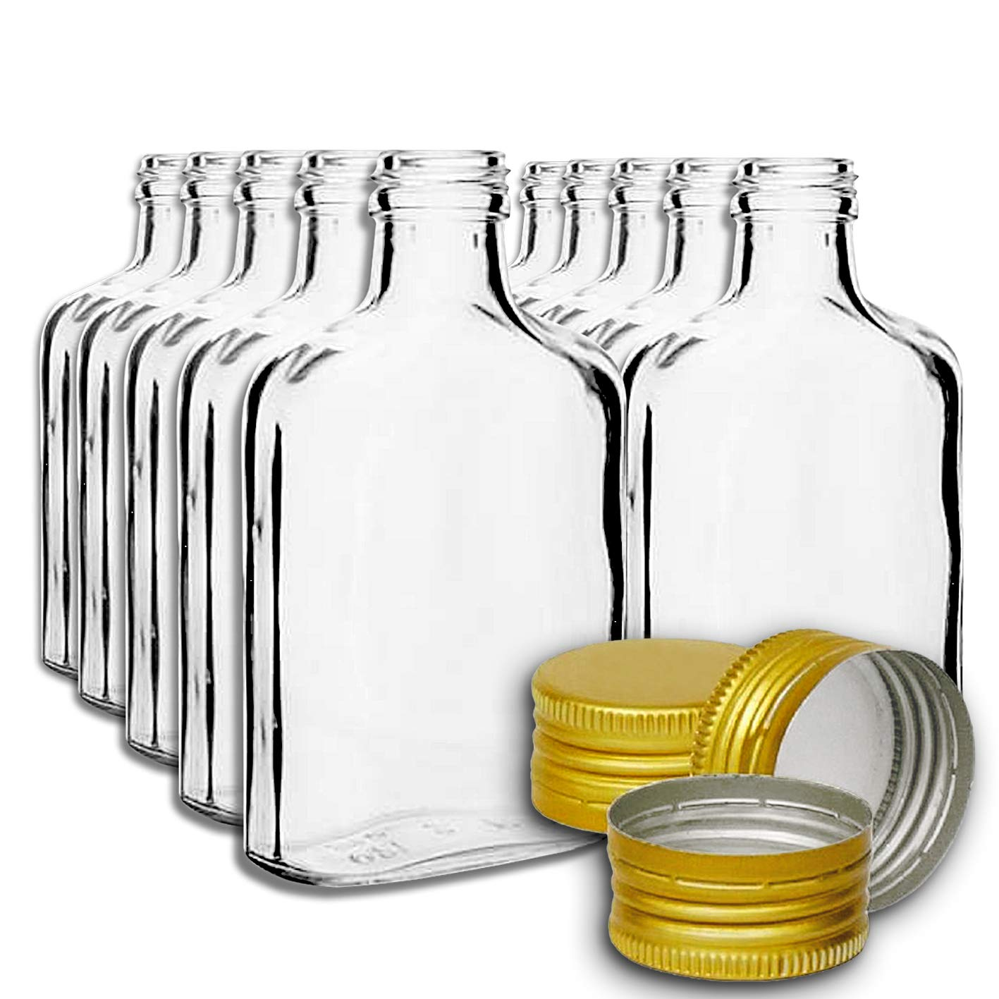 10 pocket flask bottles 200ml with GOLD screw caps for wine, whisky or spirits Biowin