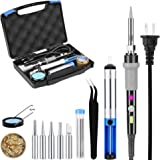 Soldering Iron Kit Electronic 60W Adjustable Temperature, Welding Solder with Tool Carry Case BricoPlus, 5Pcs Different Tips, Switch, Indicator, Solder Sucker, Wire, Tweezer,Pump,Cleaning Sponge Stand