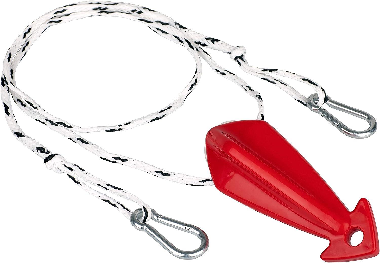 Rope Keeper incl wei/ß-rot MESLE Schleppdreieck Combi Steel 1 Person Quick-Connect-Haken L/änge 305 cm selbstzentrierend schwimmend