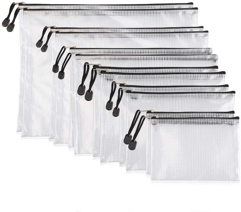 YOTINO 12er Dokumententaschen,weich,extrastark,wasserdicht Reißverschlusstaschen, Mesh Bag, Für Papierformate DIN B4,A4,B5,A5,B6,A6