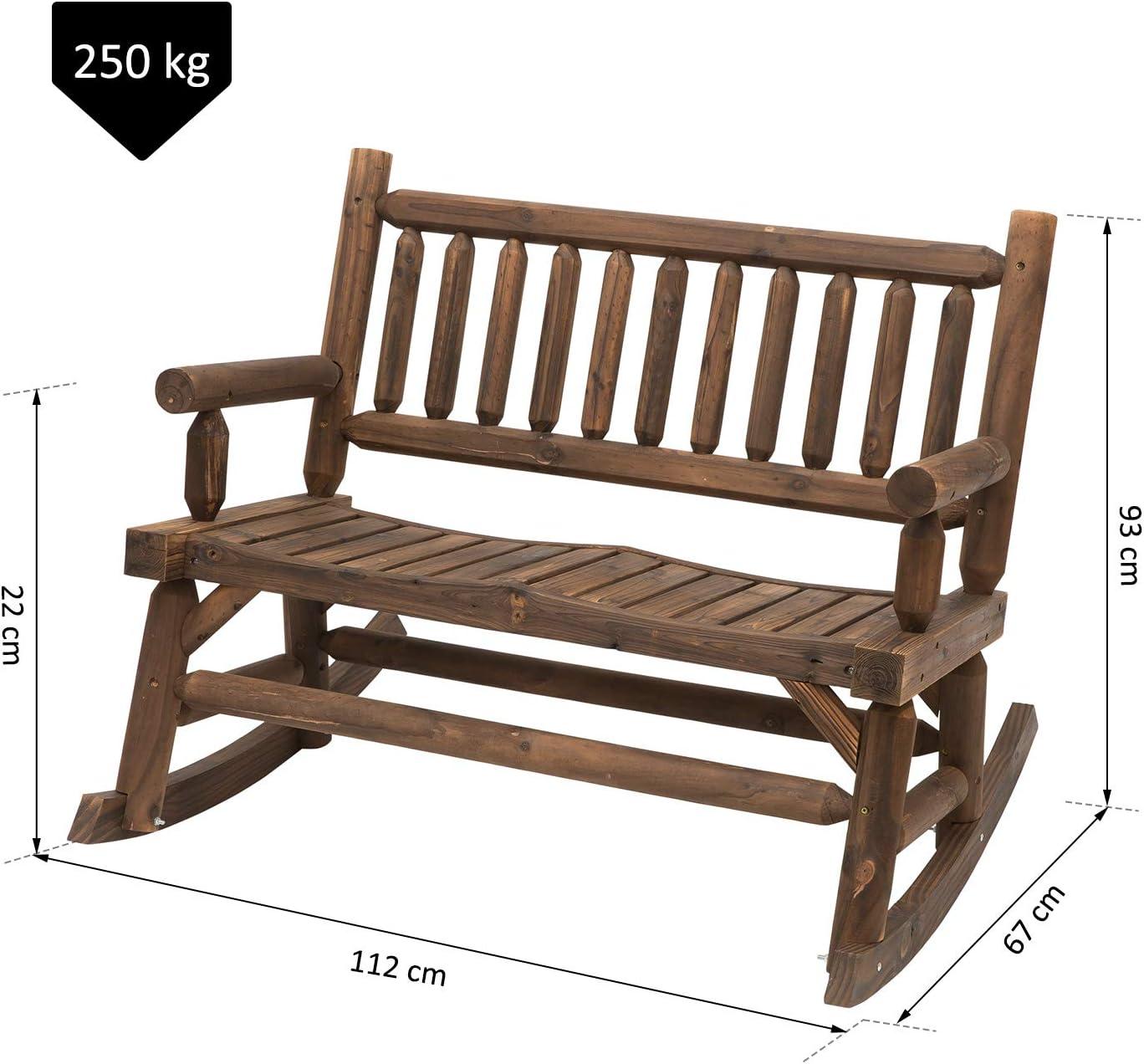 112x67x93cm Peso Massimo 250 kg Outsunny Panchina a Dondolo 2 Posti in Legno di Abete Design Rustico per Esterni