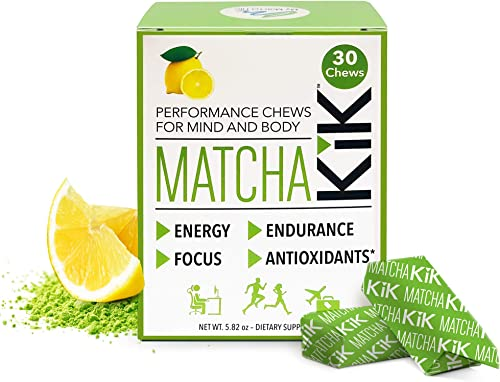 Matcha KiK Performance Chews – Energy, Mental Focus, Endurance. Healthy Vegan, Gluten Free, Non GMO, Keto Friendly Sport Chews with Premium Japanese Matcha, D-Ribose and Green Tea Caffeine. 30 Chews.
