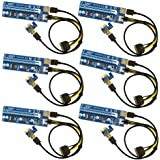 6-Pack PCIe 6-Pin PCI-E Power 16x to 1x Powered Riser Adapter Card w/ 60cm USB 3.0 Extension Cable & 6-Pin PCI-E to SATA Powe