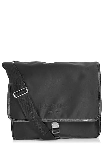 de6b760f0d63 Amazon.com: Prada Women's Nylon Flap Messenger Bag Black: Shoes