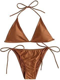 c1cbfaa045 SOLY HUX Women's Sexy Halter Top Triangle Brazilian Bikini Set Beach  Swimwear Gold