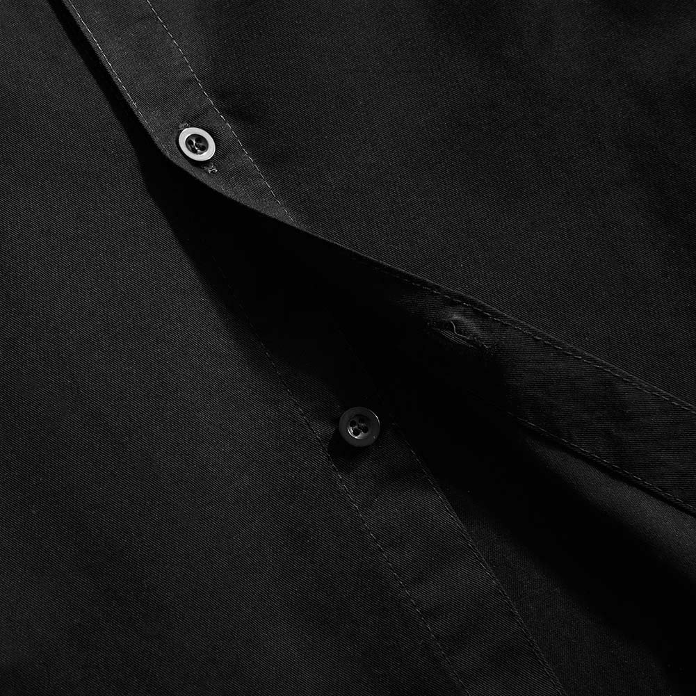 Spring&Gege Boys' Short Sleeve Solid Formal Cotton Twill Dress Shirts Black 5-6 Years by Spring&Gege (Image #6)