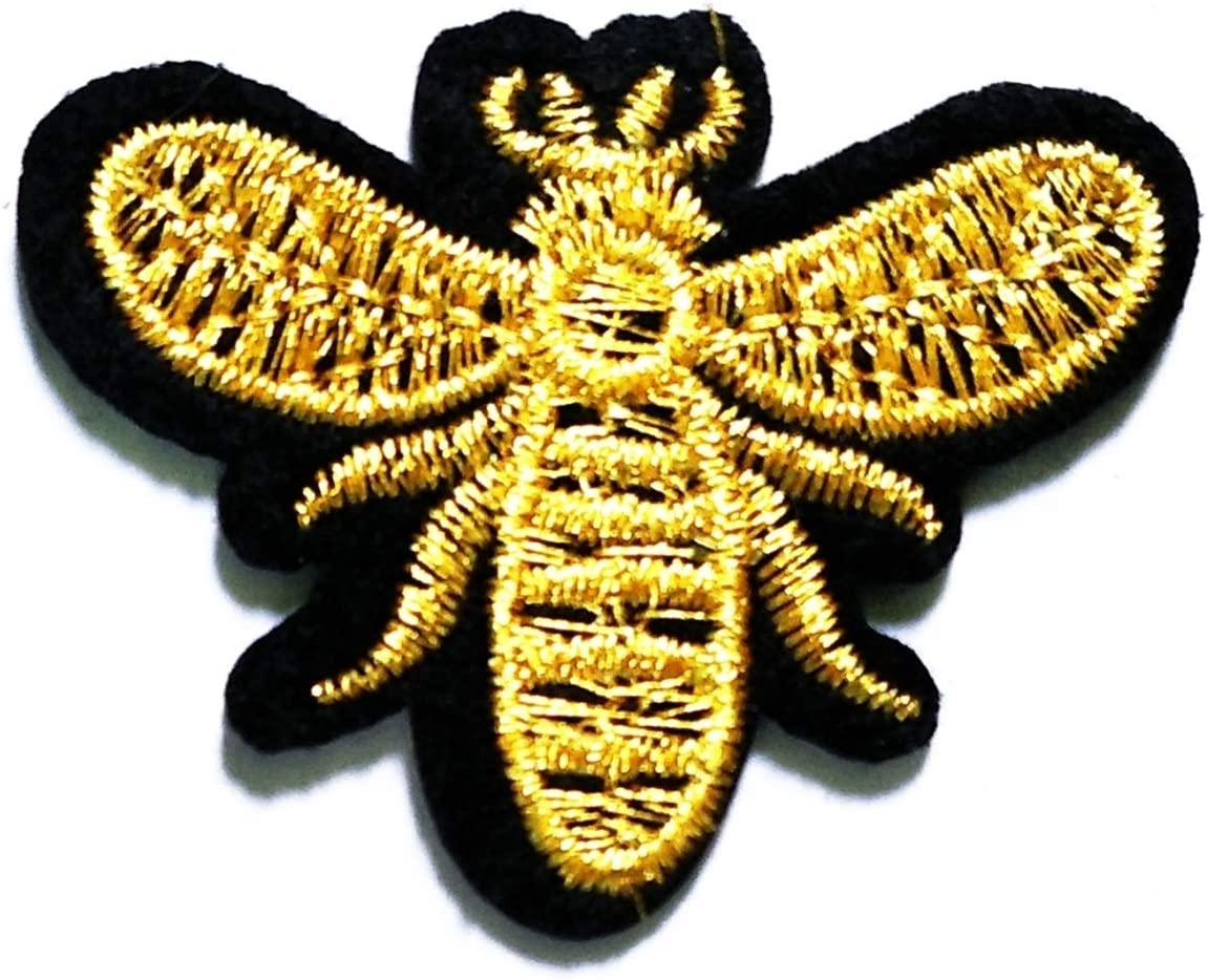 Nipitshop Patches Gold bee Sewing Patch Bee Insect Animal Flower Garden Embroidered Appliques Patch Sew Iron on Badge Patch for Cloth Decoration Happy Birthday Gift (Bee4)