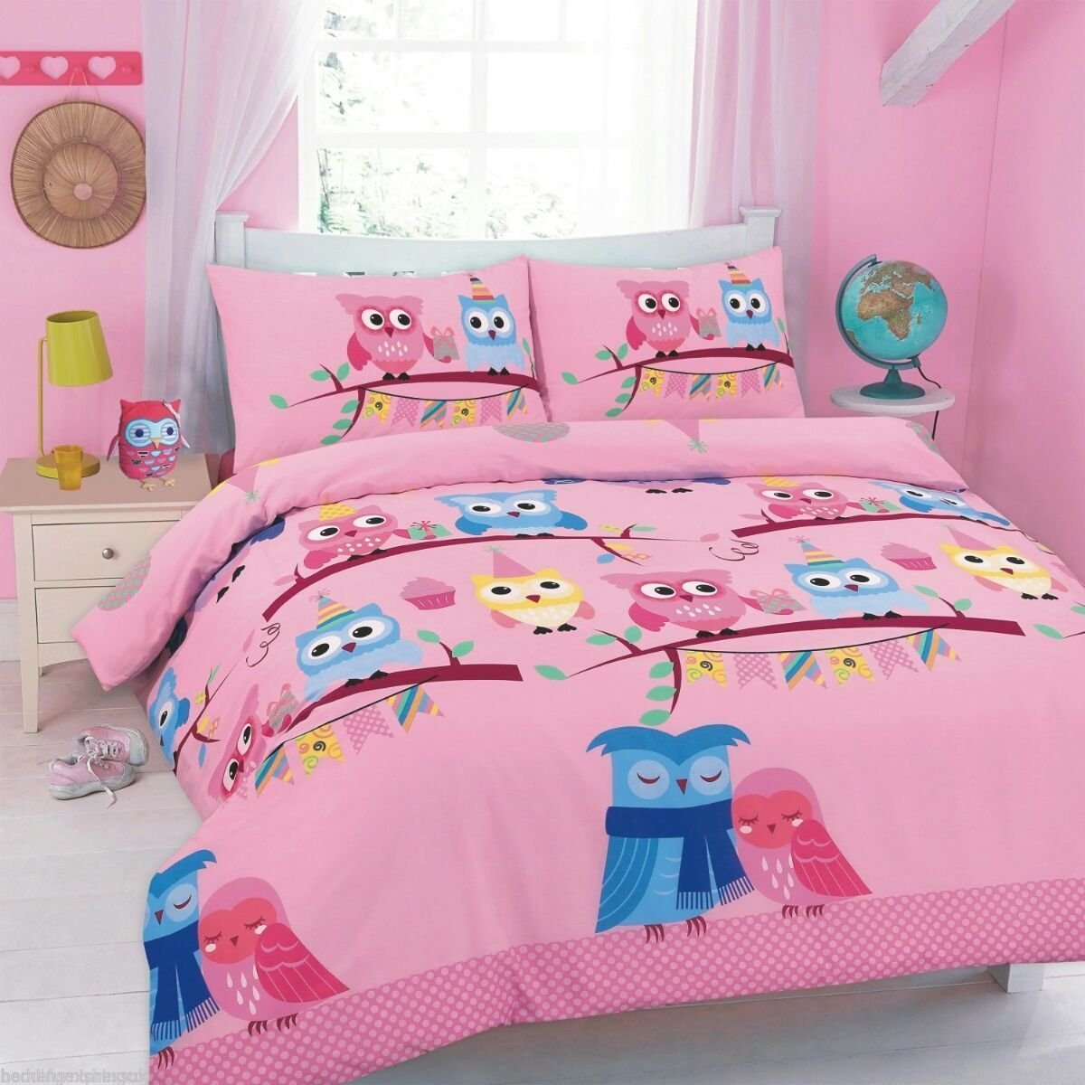 Goldstar® Cute Owl Cot Bed Size Duvet Quilt Cover Printed Bedding Set With Pillow Case (Purple) NA