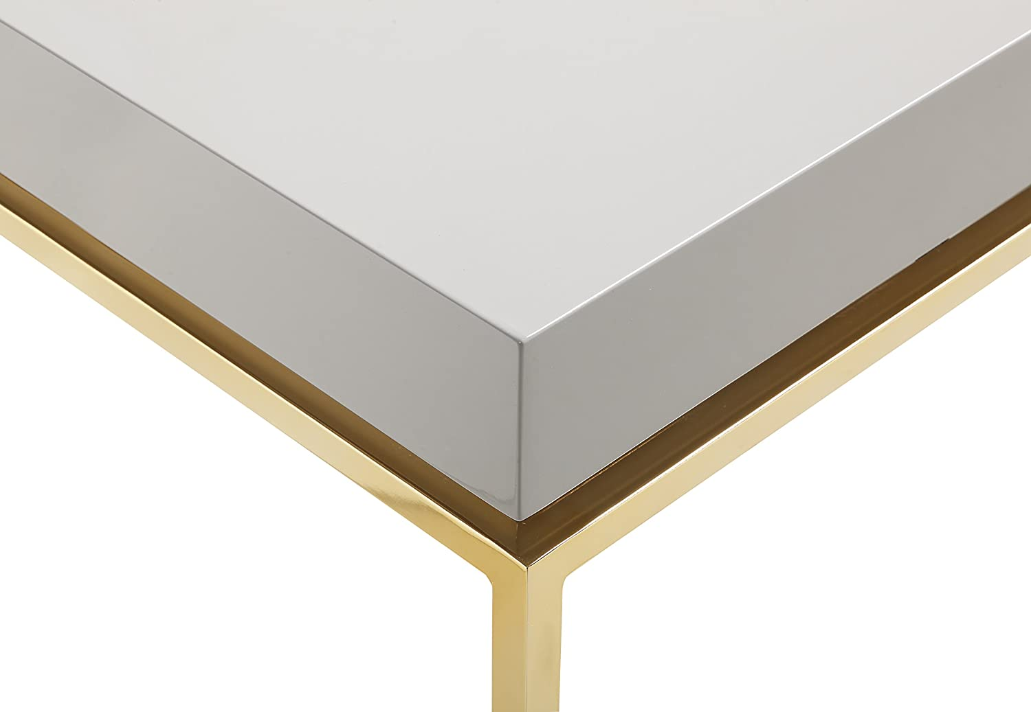 White Modern Contemporary Iconic Home Cannes Nightstand Side Table Square Frame High Sheen Lacquer Finsh Top Gold Plated Metal Legs