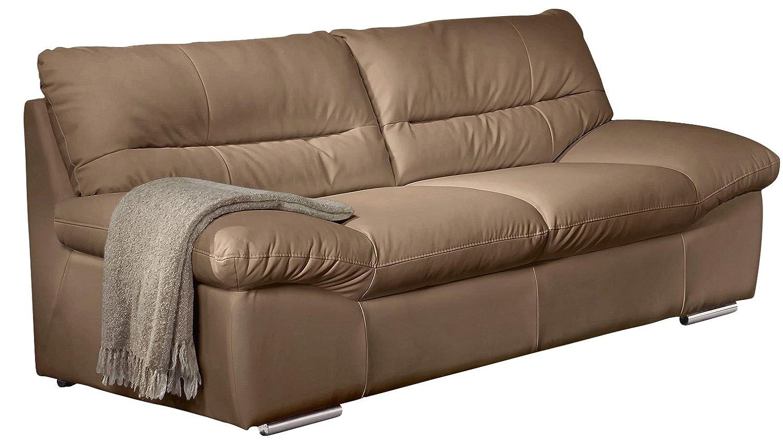 Cotta C060300 M9037 3er Sofa, echtes Leder Farbe cappuchino, B / T / H 231 / 100 / 87 cm