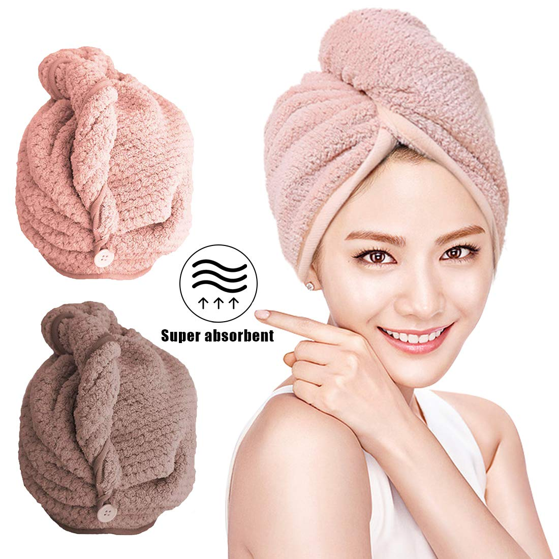 Capelli asciutti da 2pacchi Asciugamani in Microfibra Asciugacapelli Rapido Hair Towel Teli Doccia e Sauna O-Kinee Asciugamano Capelli a Turbante Rosa + Grigio