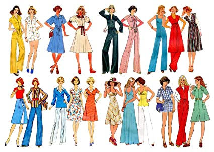 "40f24874 Vintage Fashion Disco Style (7""x10"") Clear Stamps Large Sheet /  70s"