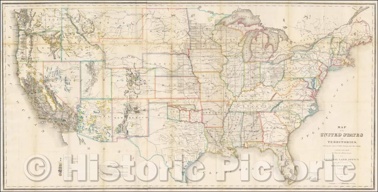 Amazon.com: Historic Map - Map of the United States and ...