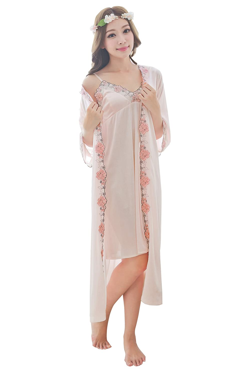 f3928523c72 Material Polyester + Spandex   Machine washable  Tumble dry low. Luxury  Women s Embroidered Floral Lace Trim Satin Straps Silky Long Sleepwear  Chemise Dress ...
