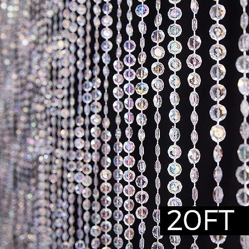 Event Decor Direct Beaded Curtain – Jewel Crystal Iridescent Diamond Cut Curtain for Doorways, Bedroom Closet Door 3FT Wide x 20FT Long