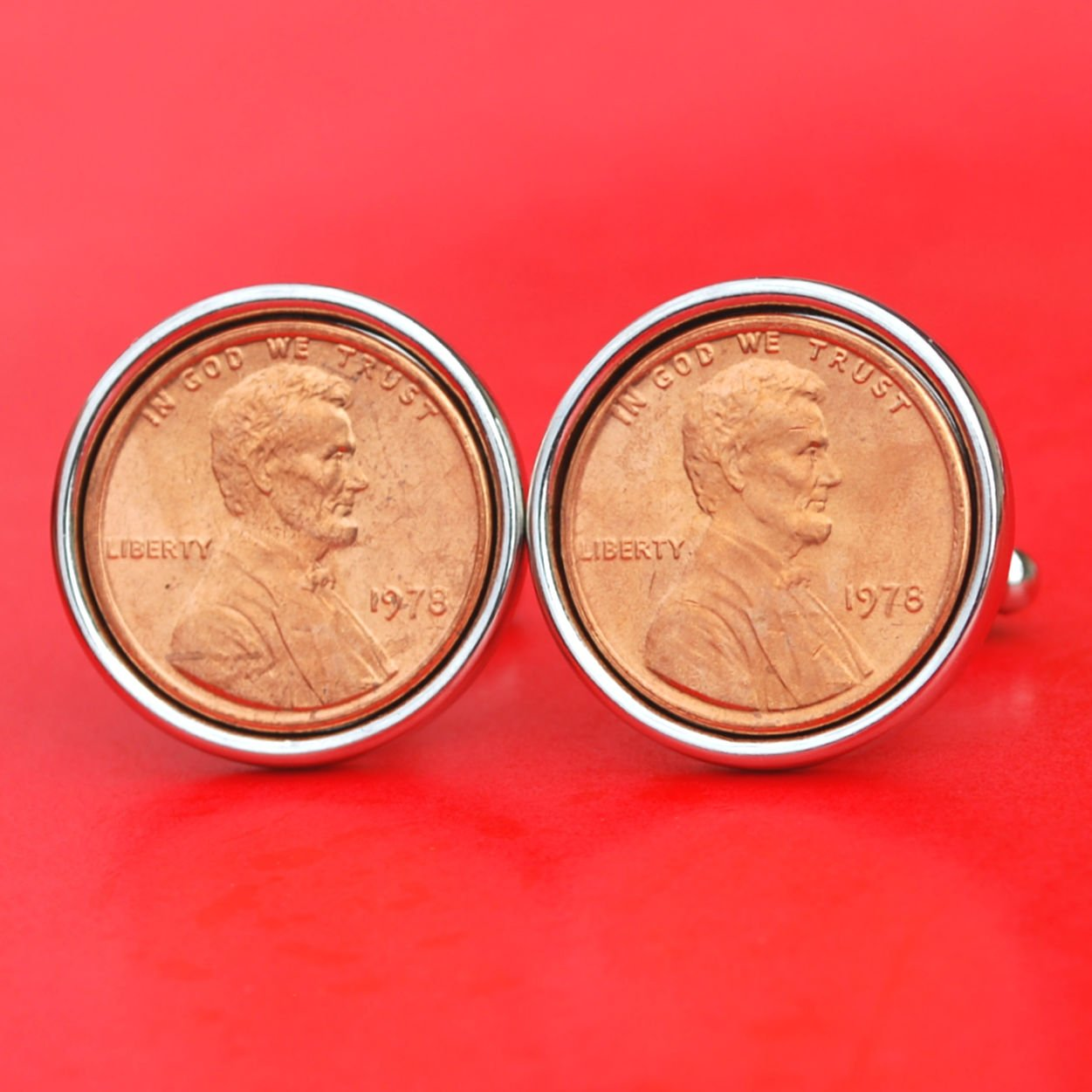 US 1978 Lincoln Small Cent BU Uncirculated Coin Silver Plated Cufflinks NEW - Lucky Penny