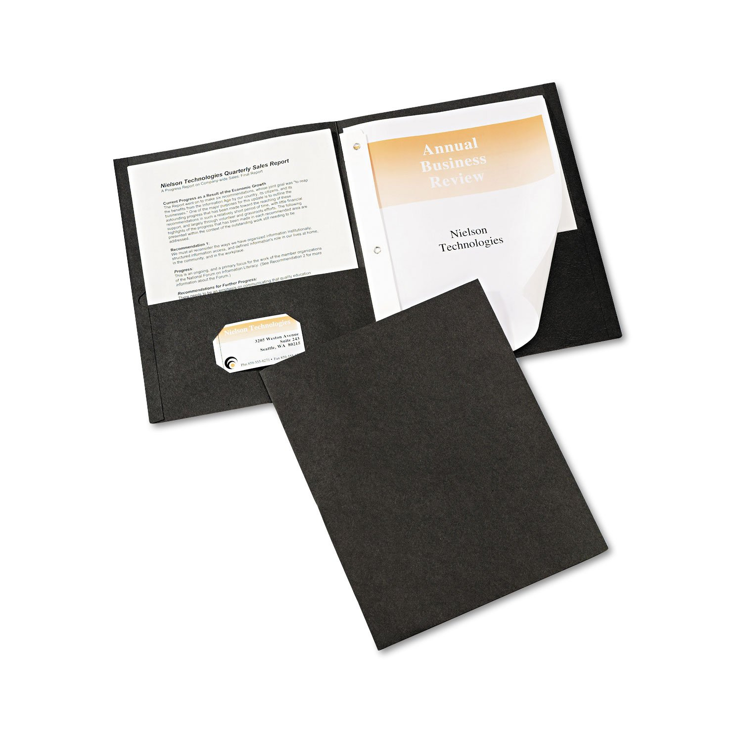 Avery Paper Two-Pocket Report Cover, Tang Clip, Letter, 1/2'' Capacity, 25/Box (Black)