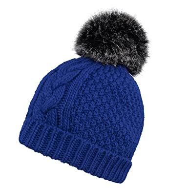 133886ebd8b  Sydney  Textured Cable Knit Pom Bobble Beanie Hat (Cobalt Blue)   Amazon.co.uk  Clothing