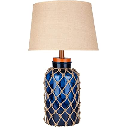 Merveilleux Diva At Home 30u0026quot; Nautical Net Cobalt Blue Table Lamp With Modified  Bell Shade