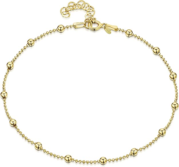 a715360e6c825d 18K Gold Plated on 925 Fine Sterling Silver 3.2 mm Adjustable Anklet - Ball  Bead Chain