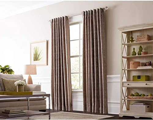allen roth Volney 84-in Taupe Polyester Back Tab Light Filtering Standard Lined Single Curtain Panel