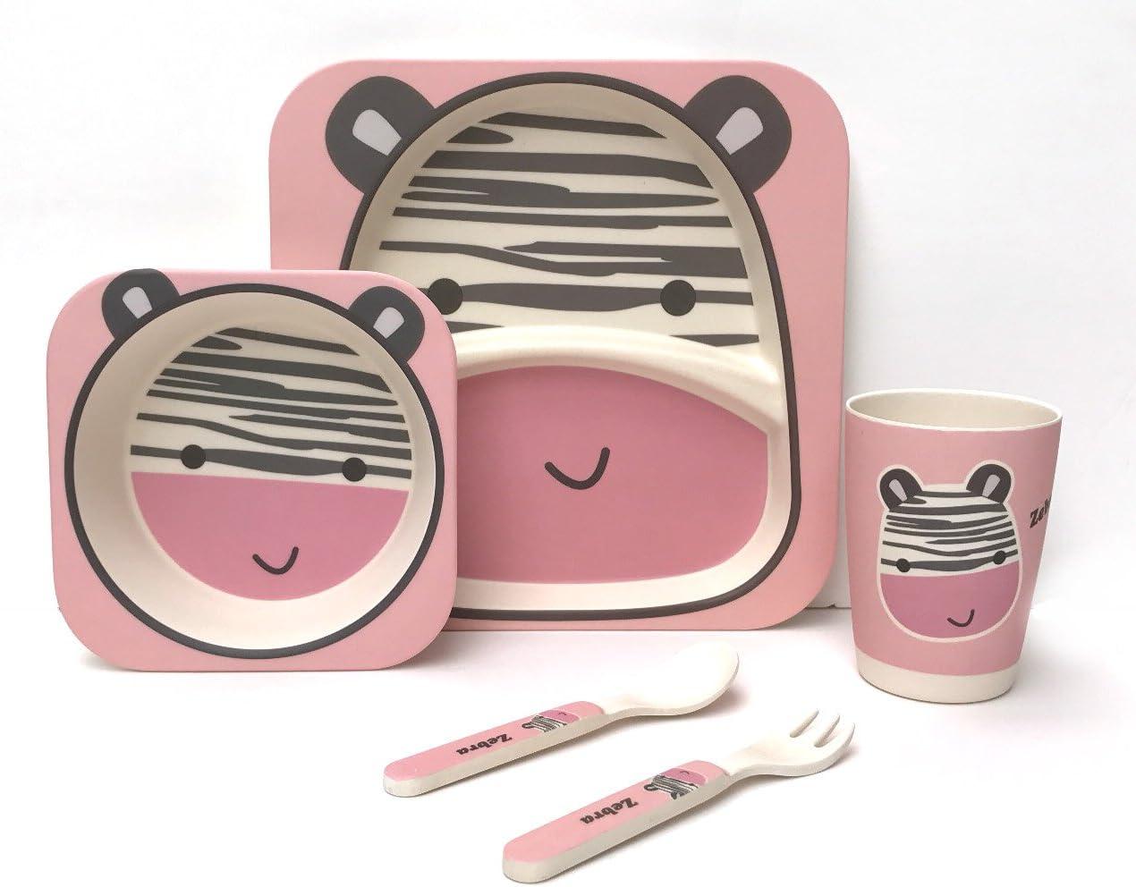 Juego de 5/piezas para comer,/100/% de fibra de bamb/ú Zebra respetuoso con el medio ambiente se puede lavar en el lavavajillas