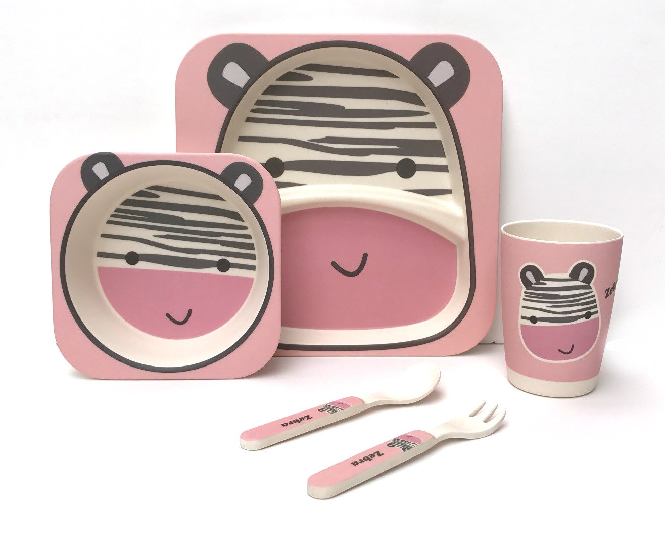 Children's 5 Piece Bamboo Dinner Set - 100% Bamboo Fibre, Eco-Friendly, Dishwasher Safe (Elephant) Ana Wiz Ltd