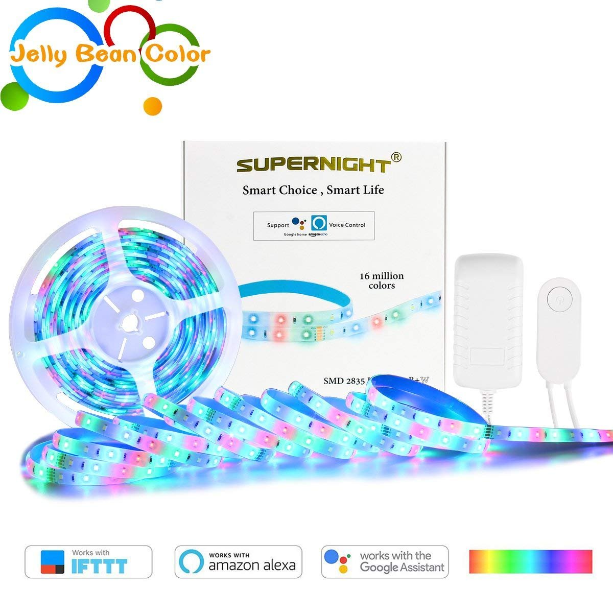32.8Ft RGBW Smart LED Strip Lights Waterproof - Wireless Smart Phone Controlled 560 LEDs SMD 2835 Light Strip Kit Work with Alexa,Google Home Automation¡¾Unique Light-Jelly Bean Color¡¿