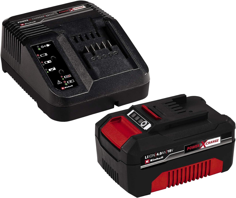 Einhell Kit con Cargador y batería de repuesto de 18 V, 4 Ah, 0 W, 21 V, Negro, Rojo, 4.0, Tiempo de Carga: 60 Minutos (ref. 4512042)