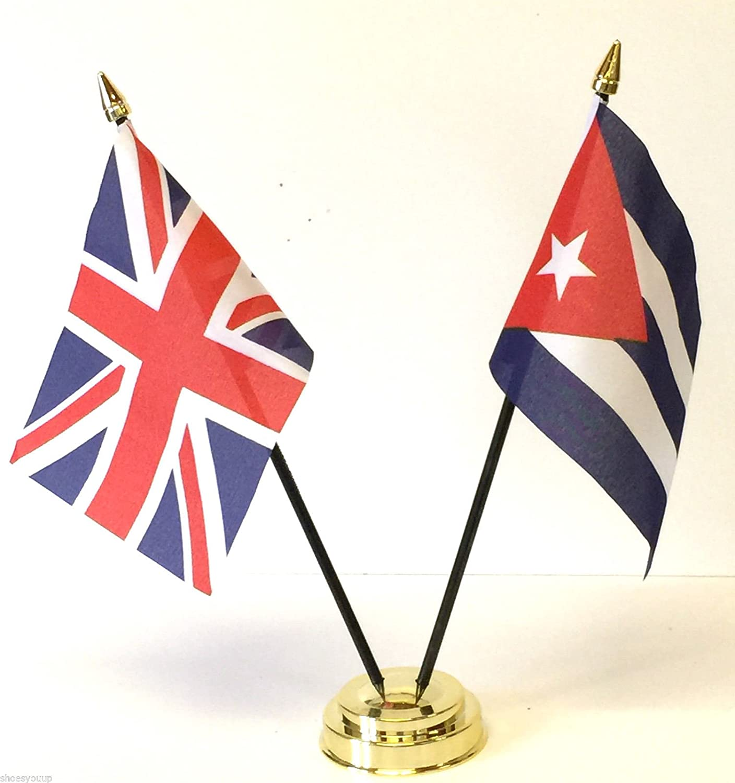 Reino Unido y doble juego de mesa de diseño de la bandera de Cuba de la amistad + Base: Amazon.es: Hogar