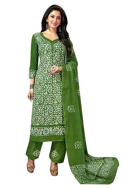 Amazon.com: Traje de Salwar Kameez de algodón puro estampado ...