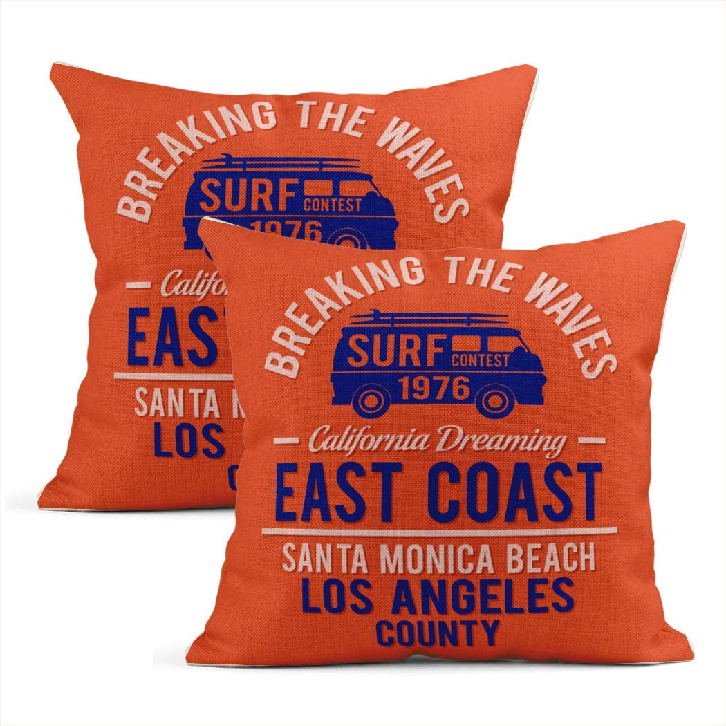 Sayakki Set of 2 Throw Pillow Covers Square 18 X 18 Inch Surf Santa Monica Graphics Camping Car Cushion Home Decor Living Room Bedroom Office Linen Pillowcase