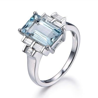 3ct Natural Vvs Aquamarine Engagement Ring 6x11mm Emerald Cut Blue