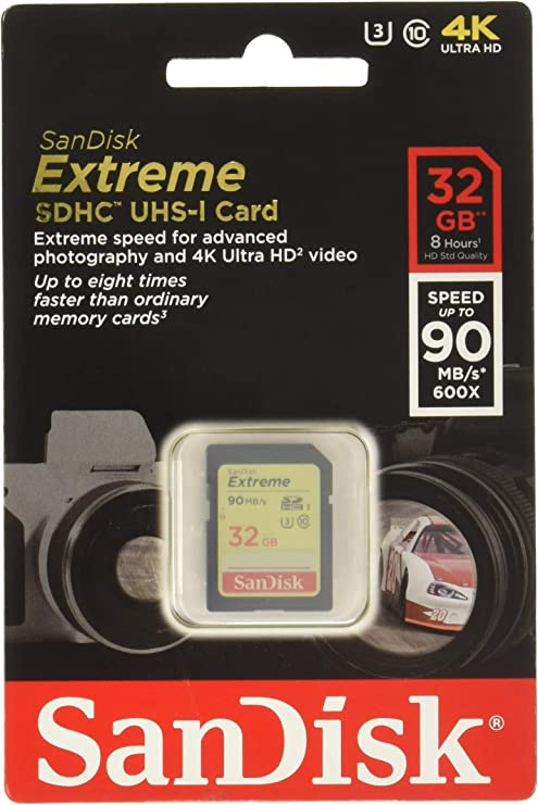 SanDisk Extreme 32GB SDHC UHS-I Card (SDSDXNE-032G-GNCIN) [Old Version]