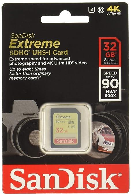 SanDisk SDSDXNE-032G-GNCIN Extreme Tarjeta de Memoria SDHC de 32 GB (hasta 90 MB/s, Clase 10 U3)