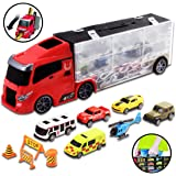 deAO Transporter Truck Carrycase for Cars Playset Carrier Including a Total of 10 Assorted Vehicles and Accessories