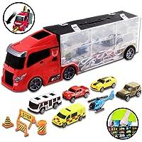 deAO Camión Transportador Maletín Portacoches Conjunto Playset Incluye Surtido Total de 10 Vehiculos y Accesorios