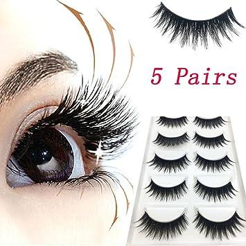 aa7d5b41044 Amazon.com : False eyelashes, Yezijin 5 Pairs Luxury 3D Makeup Lashes  Fluffy Strip Eyelashes Long Natural : Beauty