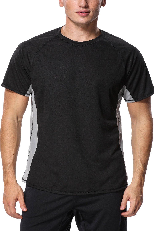 Mens Rash Guard Tee Sport Rashguard Top Loose Fit Swim Shirt Sun Rash Shirts L by Charmo