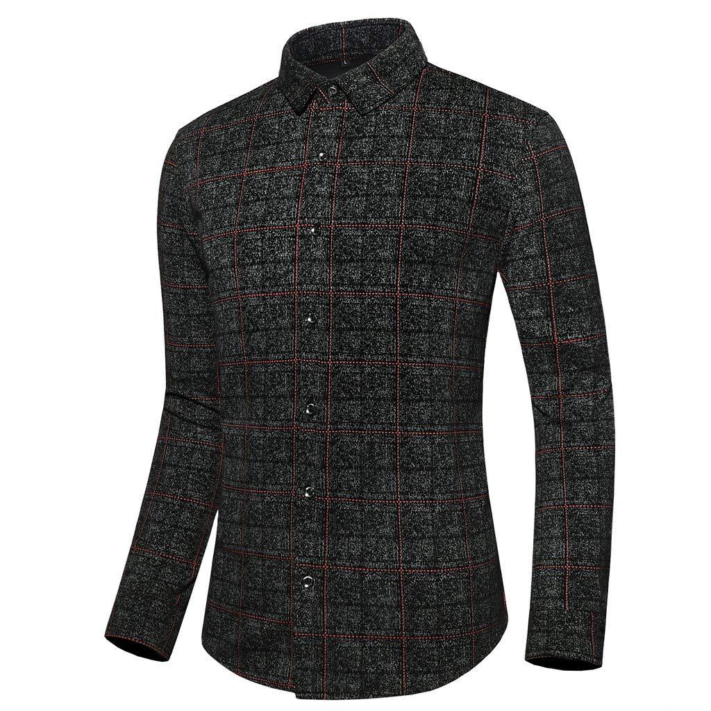Chirpa Men's Plus Size Casual Plaid Long Sleeve Turn-Down Collar Slim Fit Dress Shirts Black